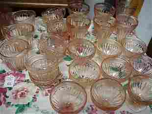 26 Pink Jeanette Glass Adam Creamers, Cups, Etc.