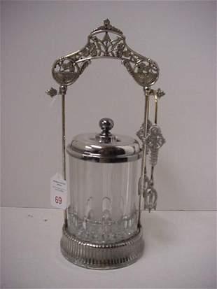 Crystal Pickle Caster in Ornate Silver Frame