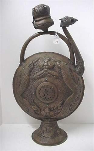 Hammered Copper Dragon Motif Tibetan Incenser