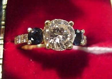 243: Ladies 1.65 CT Diamond and Sapphire Ring: