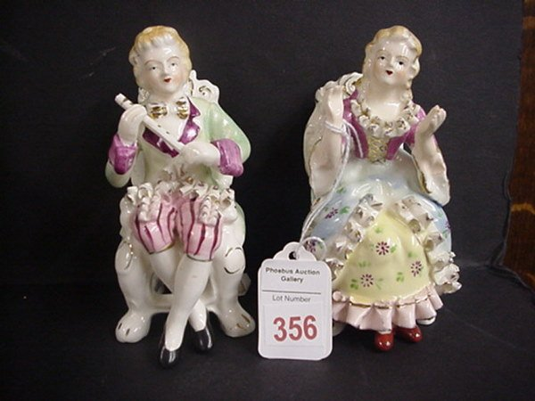 356: Bone China Hand Painted Seated Figurines: