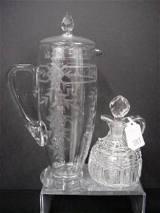Etched Crystal Martini Pitcher and Handblown Cruet