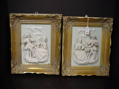 Pair of Dresden Framed Parian Relief Plaques