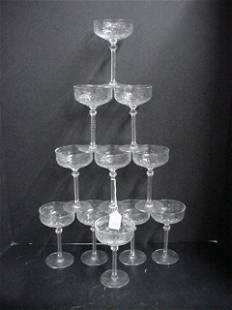 11 Libby Cut Crystal Champagne Stems