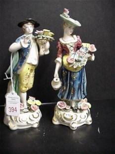 Handpainted Porcelain Male and Female Figurines