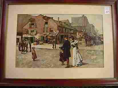 . Victorian Country Street Scene Print in Cher