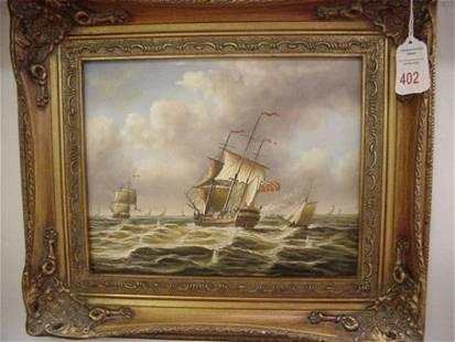 . Seascape Oil on Board in Gold Frame