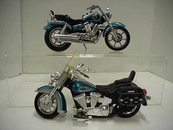 1425: Two Wooden Motorcycles, 2 Harley Models and Die C