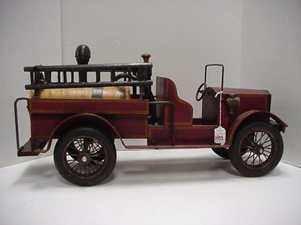 "1433: Handcrafted 24"" Long Wooden Fire Truck."