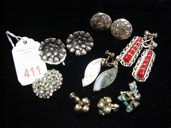 411: 7 Pairs of Vintage Sterling Silver Earrings: