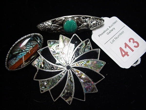 413: Sterling Bar Pins, Abalone, Onyx Broach: