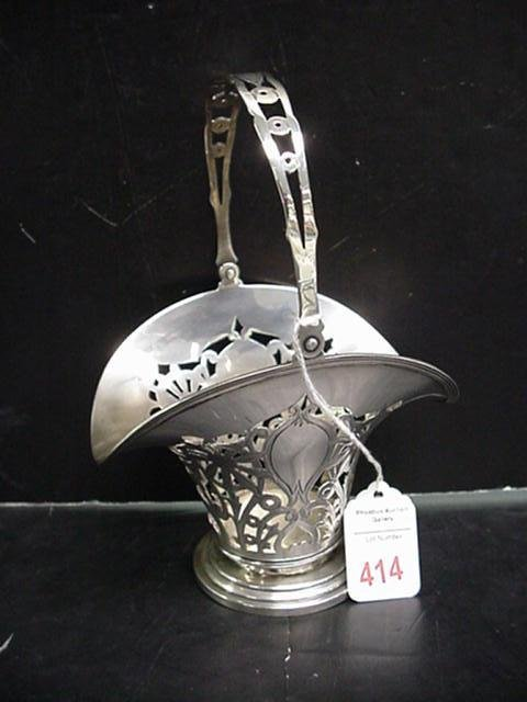 414: English Sterling Pierced Floral Basket with Handle