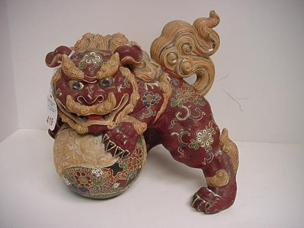 419: Hand Painted Ceramic Foo Dog Statue on Ball: