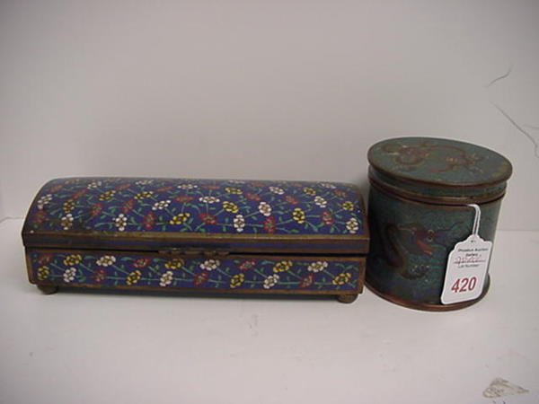 420: Floral Oriental Cloisonné Box and Dragon Jar with