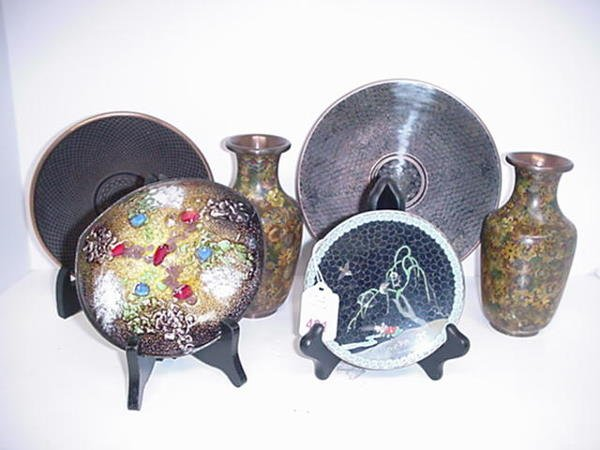 421: Cloisonné and Copper Enamel Plates and Vases.