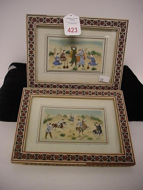 423: 2 Mini Persian Paintings on Bone in Inlaid Frame: