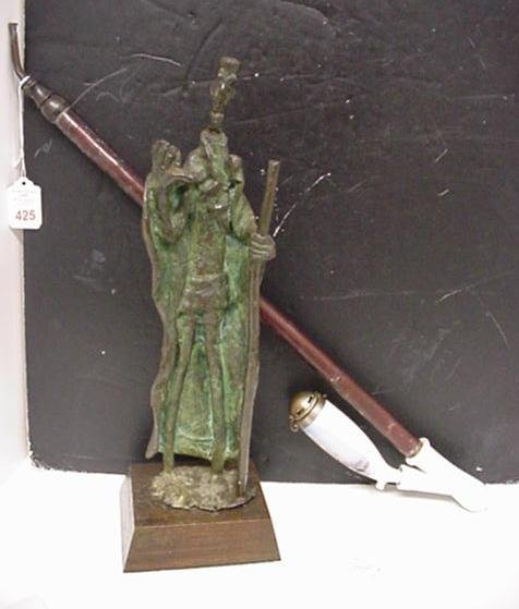 425: Bronze Warrior Figure and Bavarian Porcelain Pipe:
