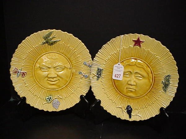 427: Early 20th C. Majolica Sun and Moon Plates: