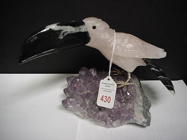 430: Rose Quartz Toucan on Amethyst Crystal: