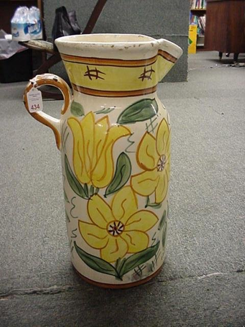 434: Large Hand Painted Pottery Jug: