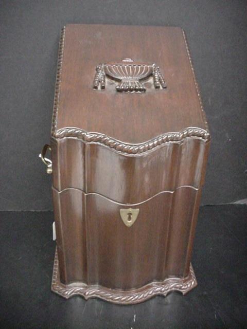 439: Mahogany Knife Box with Brass Handles: