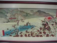 581 Japanese Military Triptych Wood Block Print