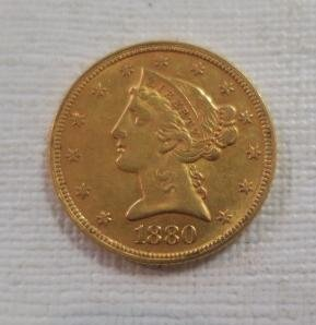 1880 US Five Dollar Gold Piece, Motto Above Eagle: