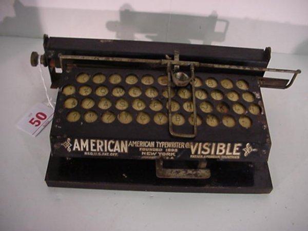 50: AMERICAN VISIBLE Square Index Typewriter: