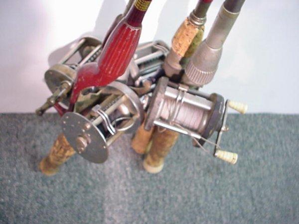 191: 4 Vintage Baitcast Rods and Reels JC HIGGINS: