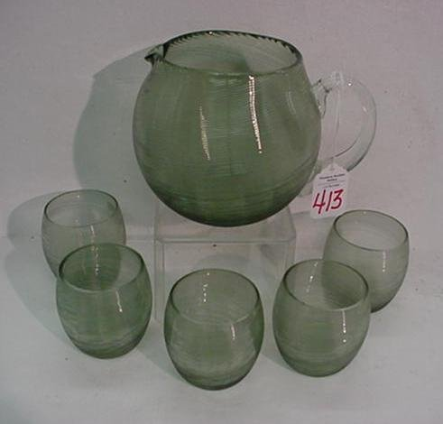 413: Hand Blown Threaded Green Glass Pitcher and 5 Glas