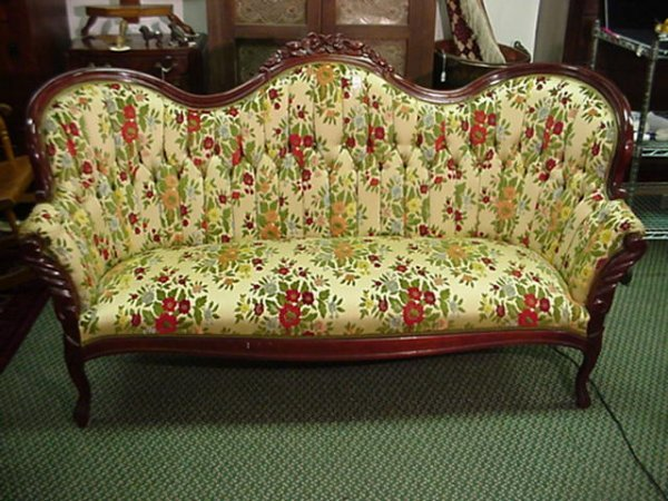 415A: Victorian Button Tufted Floral Carved Sofa: