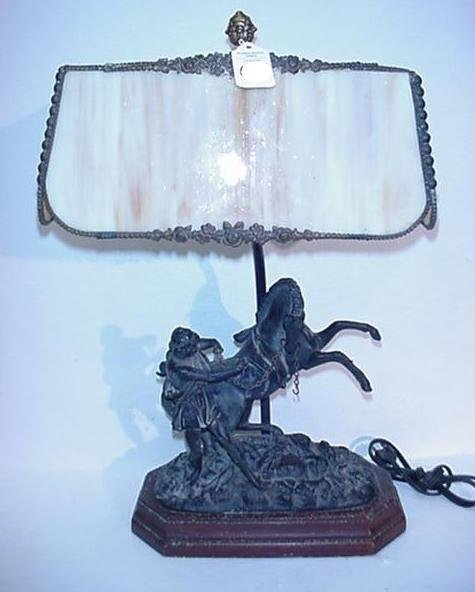 419: Alexander and Bucephalus Slag Glass Lamp: