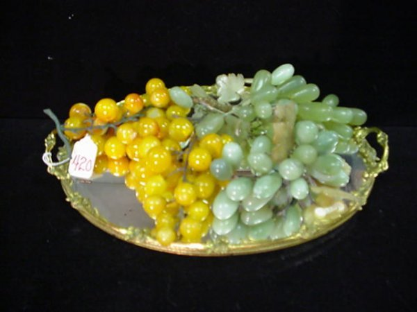 420: Brass Mirrored Dresser Tray and Alabaster Grapes: