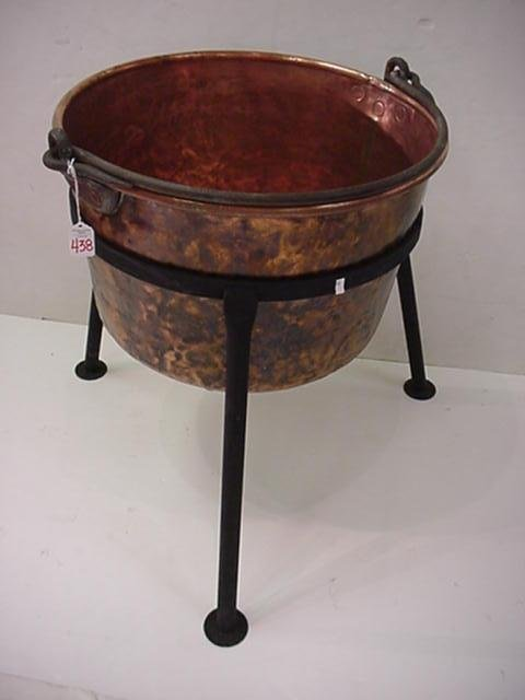 438: Copper Kettle on Wrought Iron Stand: