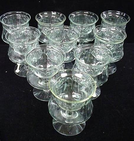 450: 10 Etched Glass Shrimp Glasses with Liners: