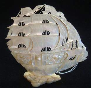 Chinese Carved Mother of Pearl Ship on Stand:
