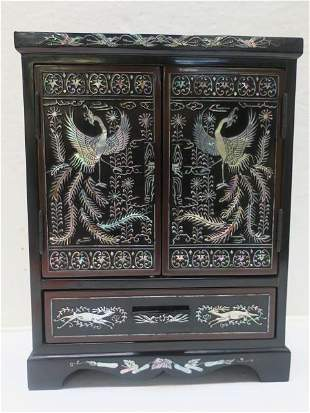 Chinese Black Lacquer, Mother of Pearl Jewelry Box: