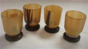 Four Chinese Carved Horn Cups: