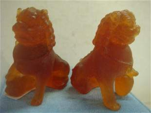 Pair of DAUM France Pate De Verre Foo Dogs: