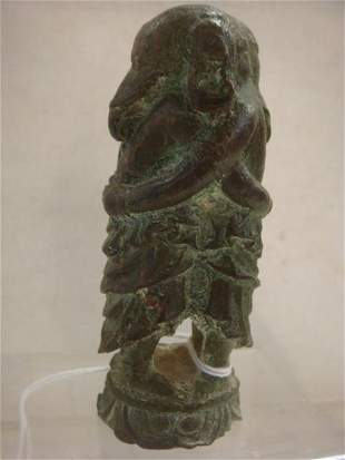 "Bronze ""Deity of Joy"" Embracing Ganeshas Figurine:"