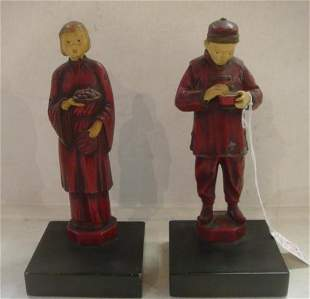 JB HIRSCH CO. Painted Metal Chinese Figure Bookends: