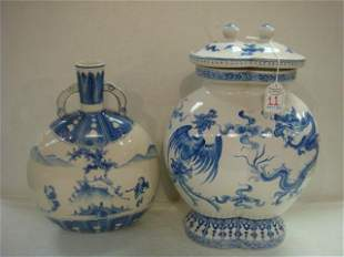 Asian Blue and White Chinoiserie Pottery Pieces: