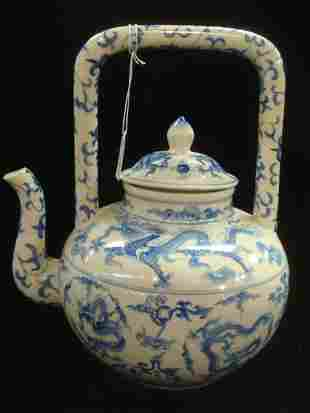 Asian Blue and White Chinoiserie Pottery Teapot: