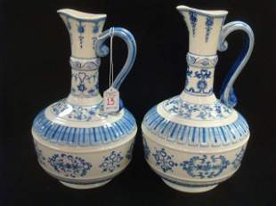 Asian Blue and White Chinoiserie Pottery Handled Urns: