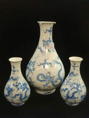 Three Asian Blue and White Chinoiserie Pottery Vases: