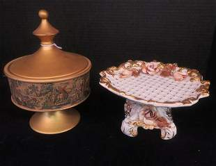 Hand Made Italian Covered Candy Dish & Compote: