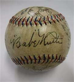 1927 Team Signed New York Yankees Baseball in Case: