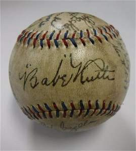 1927 Team Signed New York Yankees Baseball in Case: