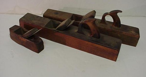 422: Three Antique Wooden Block Planes with Irons: