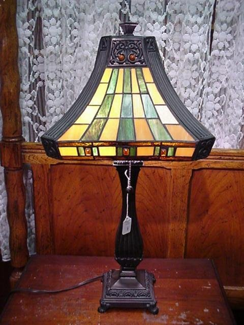 2: Leaded Glass Lamp Shade on Composition Base: